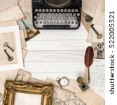 antique typewriter and vintage... | Shutterstock . vector #522005521