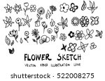 set of flower doodle sketch | Shutterstock .eps vector #522008275