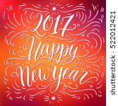 happy new year 2017 hand... | Shutterstock .eps vector #522012421