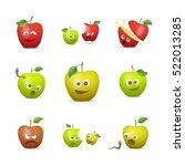 funny apples. emotional vector... | Shutterstock .eps vector #522013285