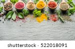 assortment of colorful spices... | Shutterstock . vector #522018091