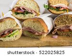 fresh sub sandwich on white and ... | Shutterstock . vector #522025825