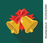 christmas bells flat icon with... | Shutterstock .eps vector #522026584