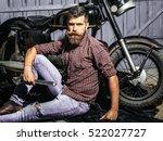 Bearded Man Hipster Biker...