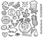 black and white fashion patch... | Shutterstock .eps vector #522028609