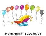 carnival hat and colourful...   Shutterstock .eps vector #522038785