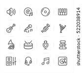 music icons with white... | Shutterstock .eps vector #522038914