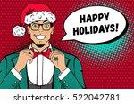 christmas pop art face. a man... | Shutterstock .eps vector #522042781