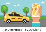 taxi concept. man call a taxi... | Shutterstock .eps vector #522043849