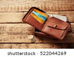stylish leather wallet with... | Shutterstock . vector #522044269