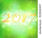 happy new year 2017 on green... | Shutterstock .eps vector #522045457