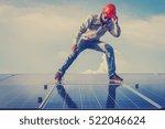 engineer or electrician working ... | Shutterstock . vector #522046624