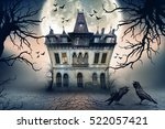 haunted house with crows and... | Shutterstock . vector #522057421