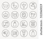 bathroom thin line icon set | Shutterstock .eps vector #522060019