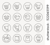 shopping baskets thin line icon ... | Shutterstock .eps vector #522065599