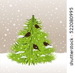 christmas tree and birds snow | Shutterstock .eps vector #522080995