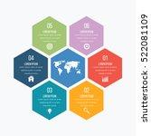 Vector illustration infographics six hexagons. Stock vector | Shutterstock vector #522081109