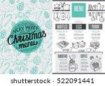 christmas restaurant brochure ... | Shutterstock .eps vector #522091441
