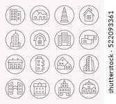 architecture thin line icon set | Shutterstock .eps vector #522093361