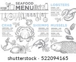 seafood menu placemat food... | Shutterstock .eps vector #522094165