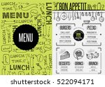 placemat menu restaurant food... | Shutterstock .eps vector #522094171