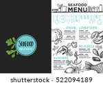 seafood menu placemat food... | Shutterstock .eps vector #522094189