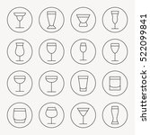 drink glasses thin line icon set | Shutterstock .eps vector #522099841