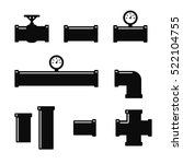 pipe fittings icons set. tube... | Shutterstock .eps vector #522104755