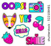 set of cute stickers and... | Shutterstock .eps vector #522108481