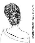 girl with stylish braid and bun | Shutterstock .eps vector #522110971