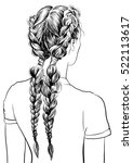 girl with stylish braid... | Shutterstock .eps vector #522113617