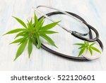 marijuana leaf and stethoscope. ... | Shutterstock . vector #522120601