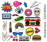 retro patch badges set.... | Shutterstock .eps vector #522130561