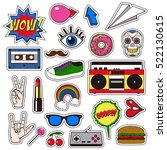 retro patch badges set.... | Shutterstock .eps vector #522130615