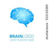 blue brain logo silhouette on... | Shutterstock .eps vector #522132385
