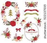 christmas flower wreath  | Shutterstock .eps vector #522137035