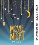 night movie party invitation... | Shutterstock .eps vector #522144535