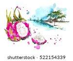 dragon fruit and beach. | Shutterstock . vector #522154339