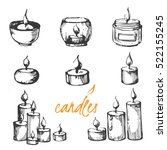 vector set of sketch candles. | Shutterstock .eps vector #522155245