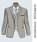 formal suit or tuxedo with bow... | Shutterstock .eps vector #522166615