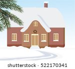 house covered with snow. winter ... | Shutterstock .eps vector #522170341