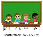 happy diligent kids or children ... | Shutterstock .eps vector #522177679