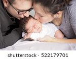 a happy family with newborn... | Shutterstock . vector #522179701