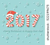 year 2017 sign in red and white ... | Shutterstock .eps vector #522199675