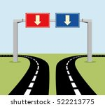 decision concept road signs ... | Shutterstock .eps vector #522213775