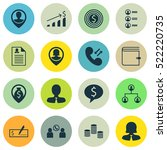 set of 16 human resources icons.... | Shutterstock .eps vector #522220735