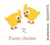 cute cartoon yellow chicken... | Shutterstock .eps vector #522247471