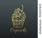 hand drawn vector cupcake .... | Shutterstock .eps vector #522247615