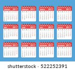 calendar for 2017 starts monday ... | Shutterstock .eps vector #522252391
