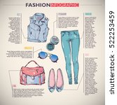 fashion infographic with... | Shutterstock .eps vector #522253459